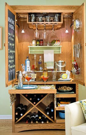 Armoire Bar: my weekend project… which will likely turn into a month-long project that my husband has to take over… :)