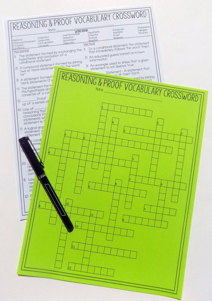 Geometry Chapter 2 Vocabulary Crossword Reasoning