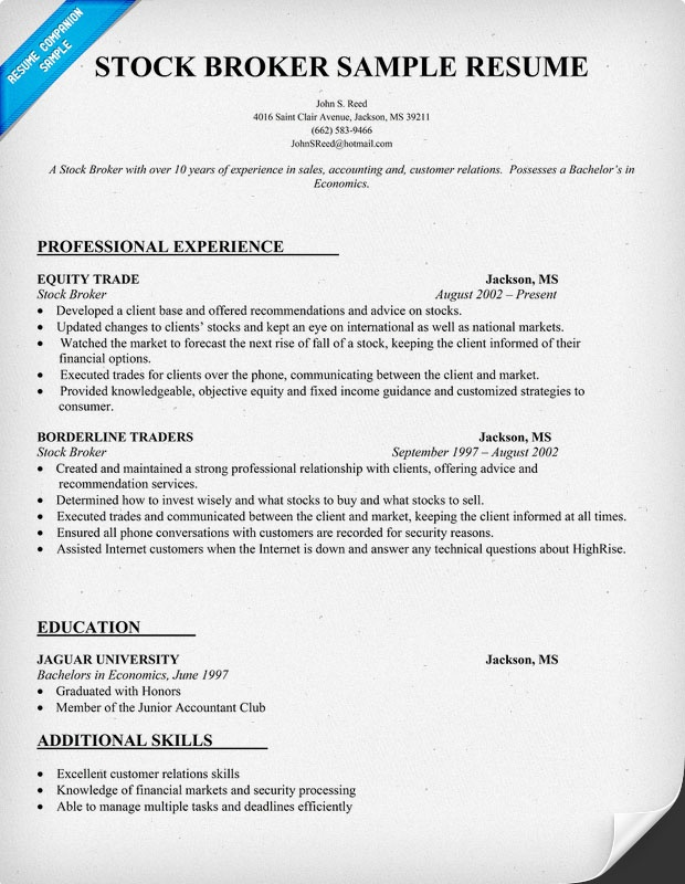 Stock Broker Resume Sample Books Worth Reading