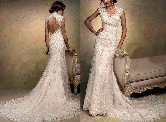 High Quality Cap Sleeve Lace Wedding Dress V-neck Backless