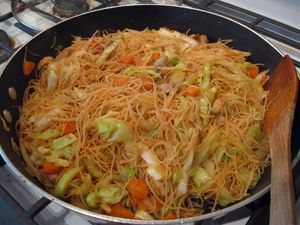 Pancit w/ Chicken. This is delicious, inexpensive and easy to make! It can also be made with leftover pork or chicken. The only