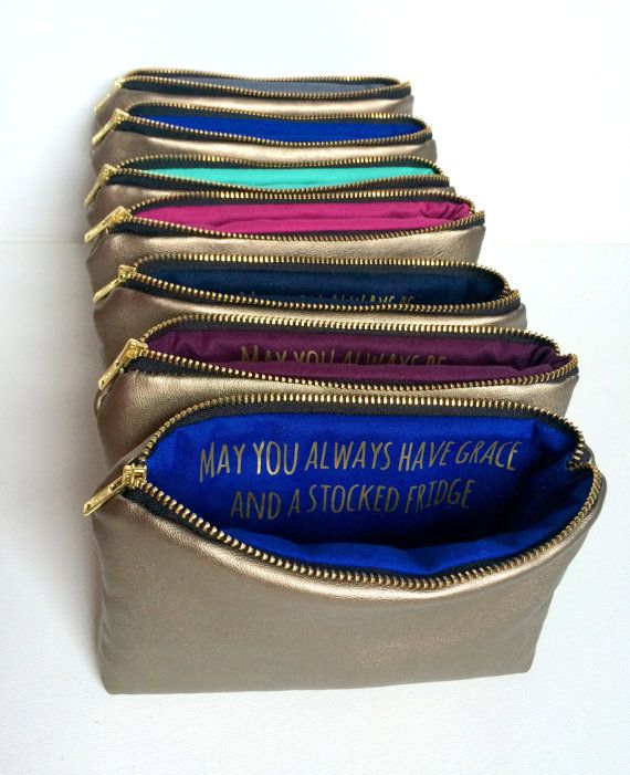 Seven Personalized Bridesmaids Gifts // Gold Leather Bags w. Custom Messages Quotes