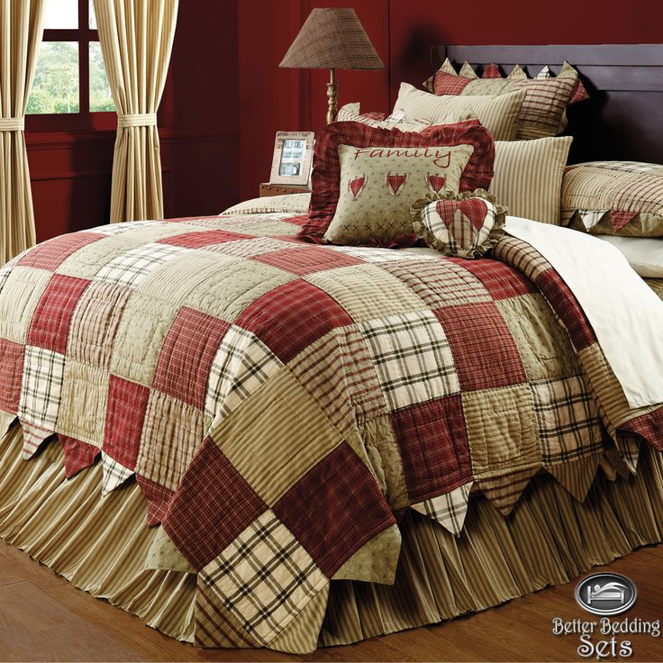 Details About Country Red Green Patchwork Twin Queen Cal