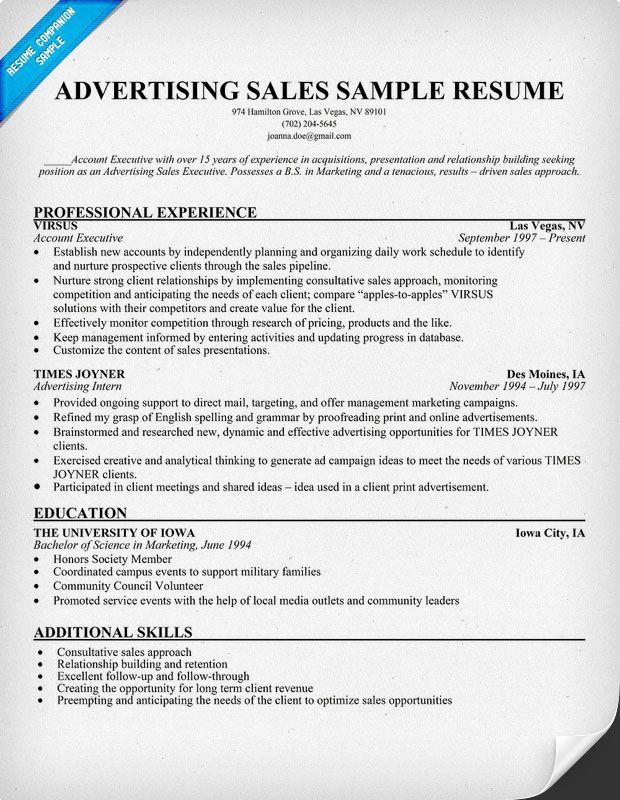 Advertising Sales Resume Sample Marketing, Advertising