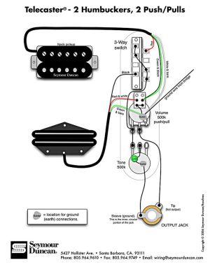 Tele Wiring Diagram, 2 humbuckers, 2 pushpulls | Telecaster Build | Pinterest