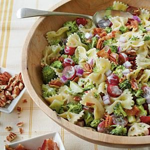 If you're a broccoli salad fan, you'll love the combination of these colorful ingredients. Cook the pasta al dente so it's firm