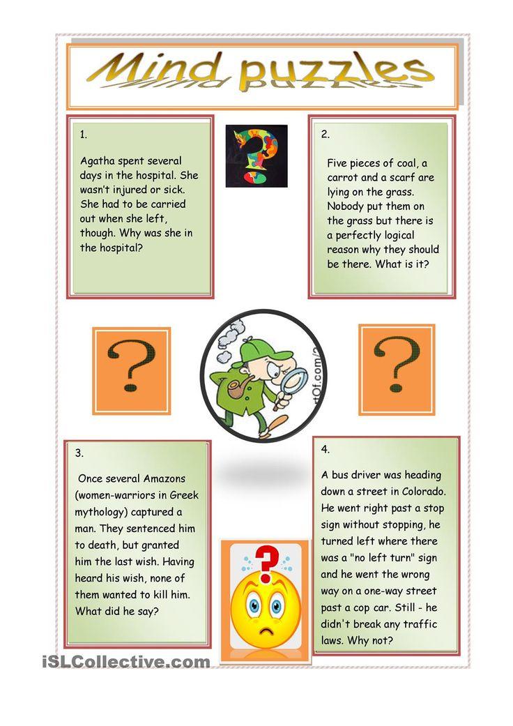 mind puzzles worksheet Free ESL printable worksheets