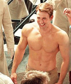 Heres a GIF of Chris Evans shirtless and laughing.  Youre welcome!