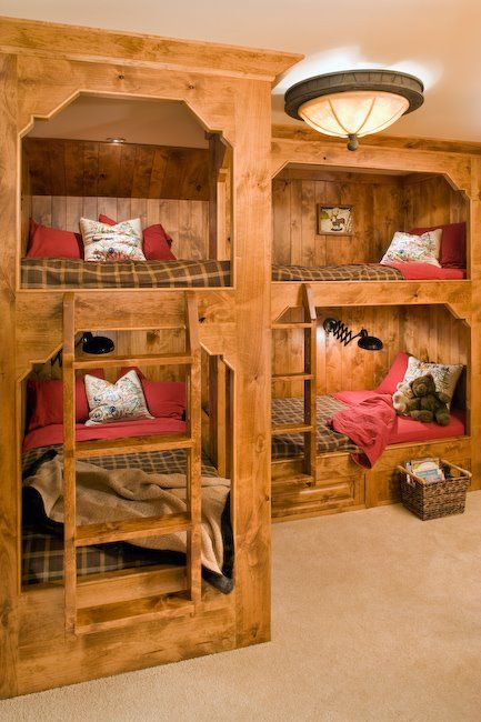 I love the idea of multiple bunk beds in a finished basement … You can have mu