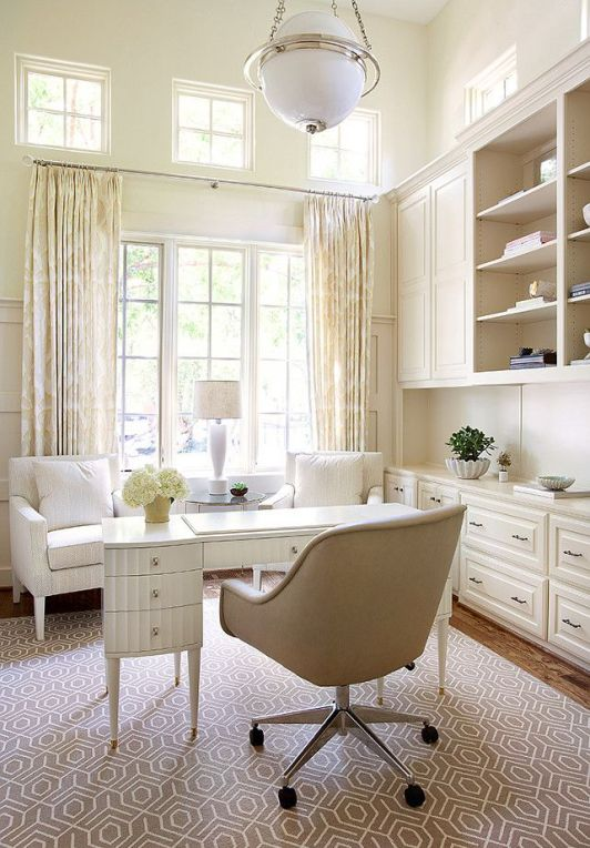 Home Office. Neutral Home Office. Neutral Home Office with built-in cabinet, white desk, greige rug and off-white curtains. #HomeOffice #NeutralInteriors  Tracy Hardenburg Designs.: