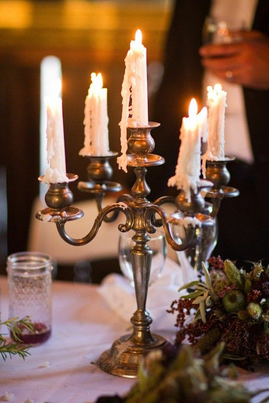 Love The Melted Wax On The Silver Candlestick I Have The Same One Need To Copy This
