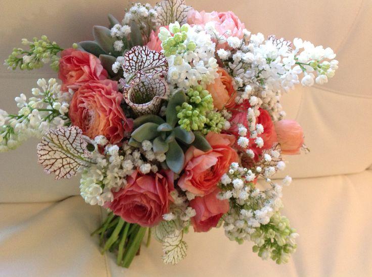 Peach Coral White Bridal Bouquet
