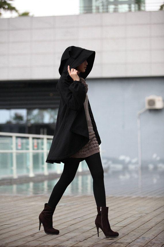 BLACK Long Sleeve Wool Winter Coat Special Hooded Woolen Cape Coat Hood Cloak Hoodie Cape for Women –