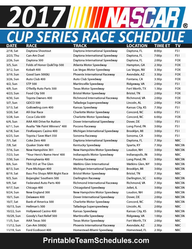 Related Keywords & Suggestions for Nascar 2017 Schedule