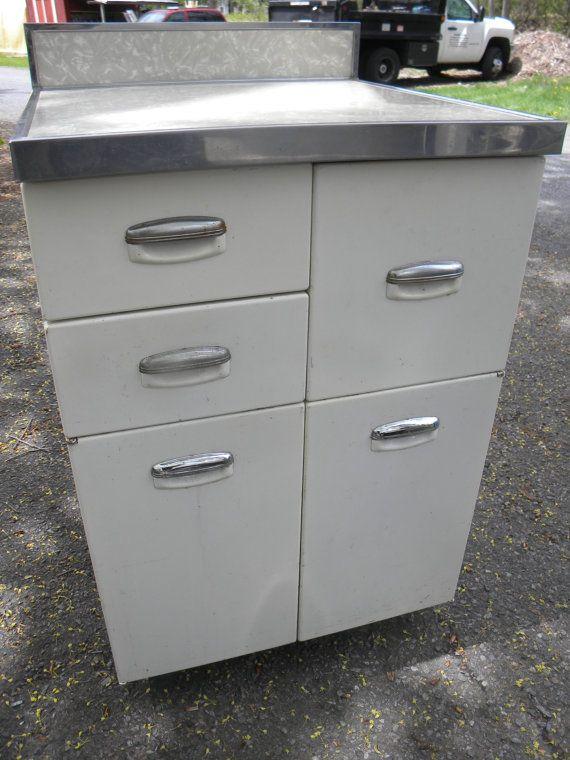 1930s 1940s Metal Kitchen Cabinet Storage