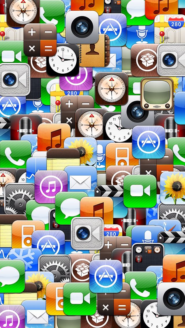 Collage of various iOS app icons. iPhone 5 Backgrounds