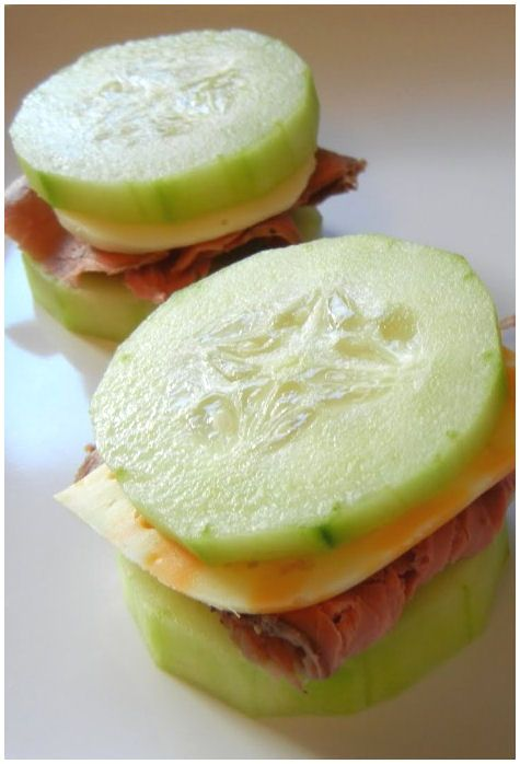 Talk about a low carb diet! These delicious cucumber sandwiches are the perfect snack to cure the hunger pains….PERFECT mid day