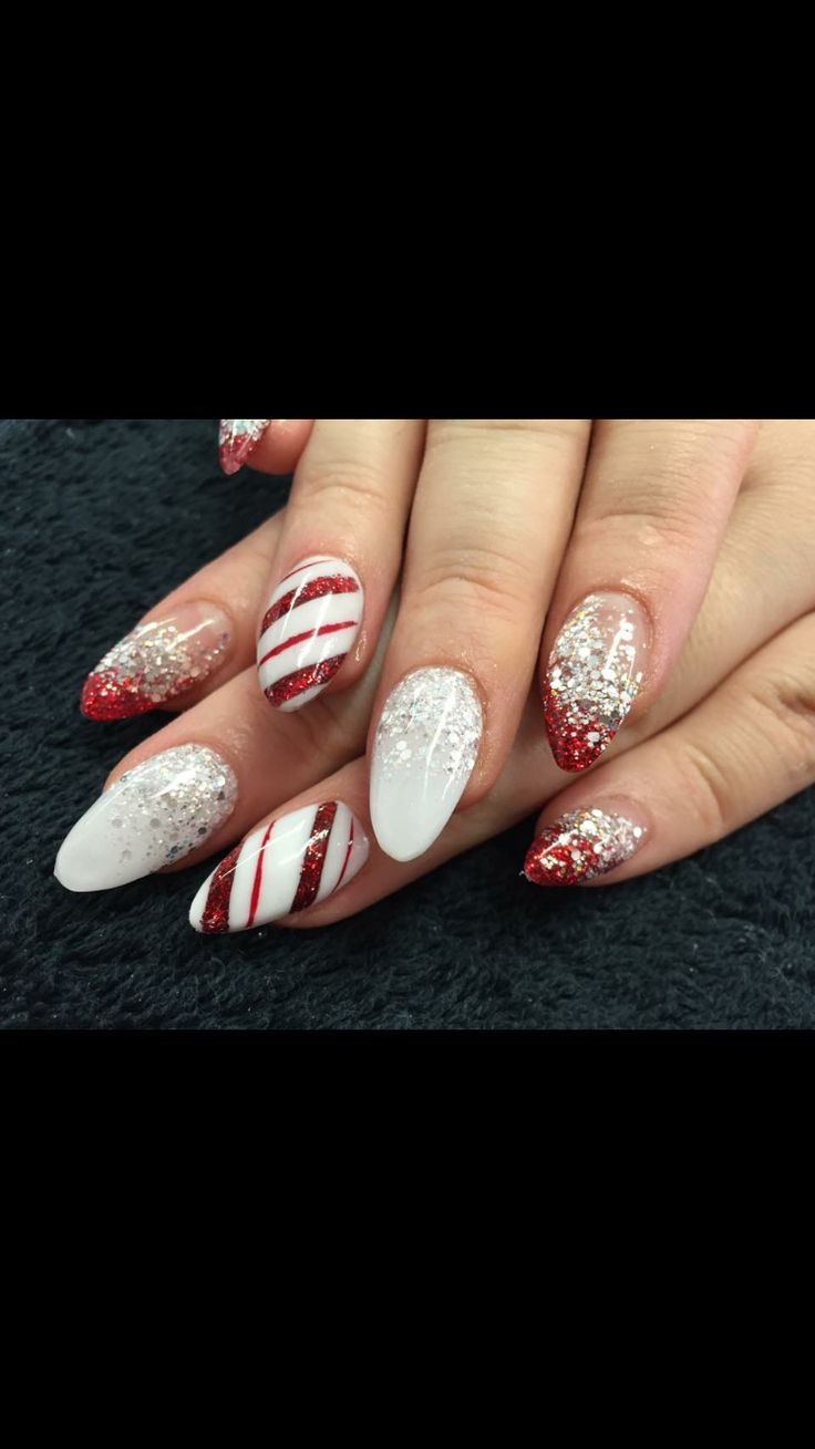 White Holiday Red Nails And