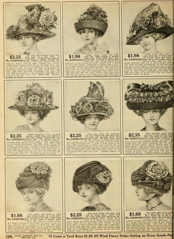 Womens Silk Flower Hats From Sears 1912 Catalog MFL