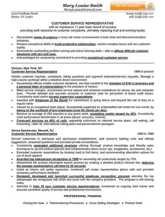 Customer Service Representative Resume Example See best