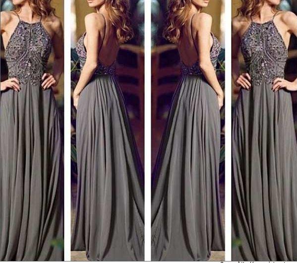 Gray Long Prom Dresses, Straps Prom