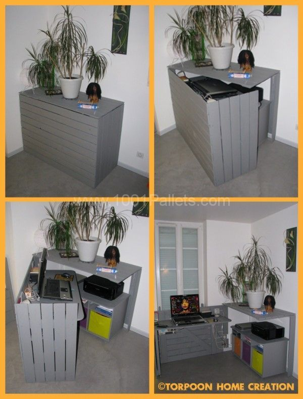 Bureau cach / Hidden desk | 1001 Pallets…This could be made in a different style but the concept is terrific for a small space.