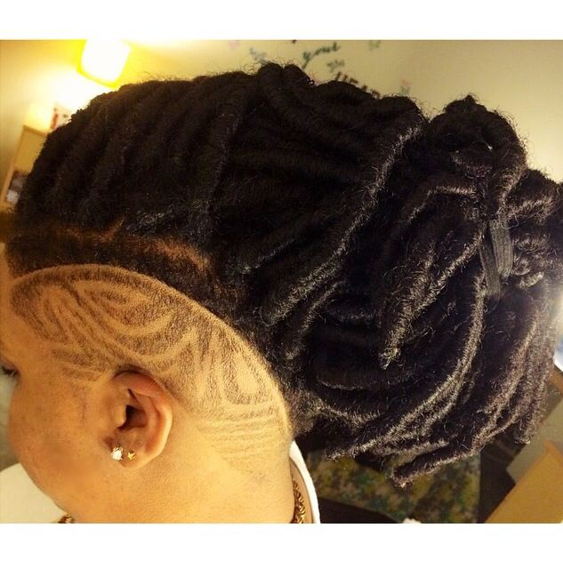 Faux Locs And Shaved Side Design Locs Shortcut