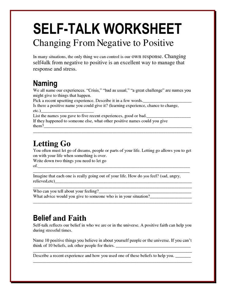 The Worry Bag Self Talk Worksheet