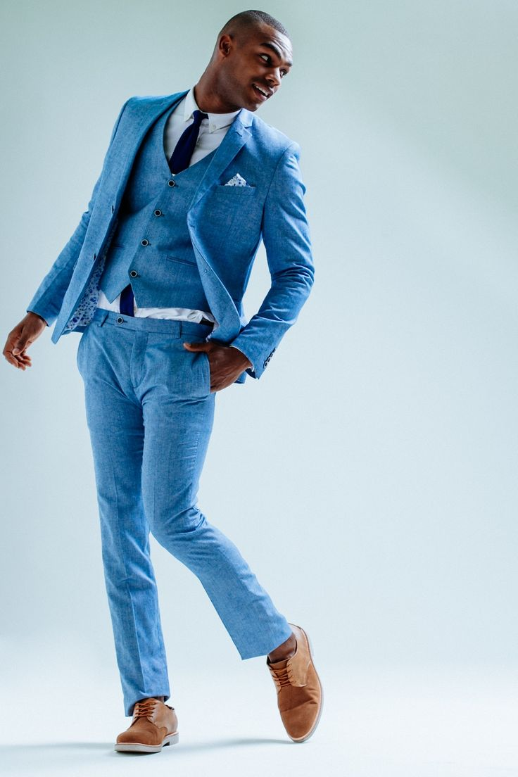 Love The Modern Take Of This Blue Linen Suit Mens Suit