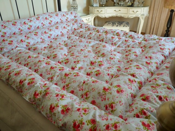 Louisa Kingsize Feather Eiderdown Comforter Quilt Vintage Inspired Delicious Quilts
