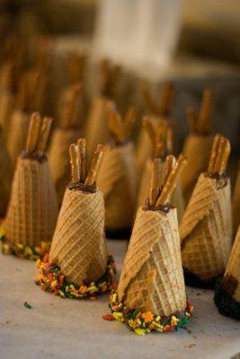 Teepee cupcake/cones….Here I go again with cupcake cone…=)