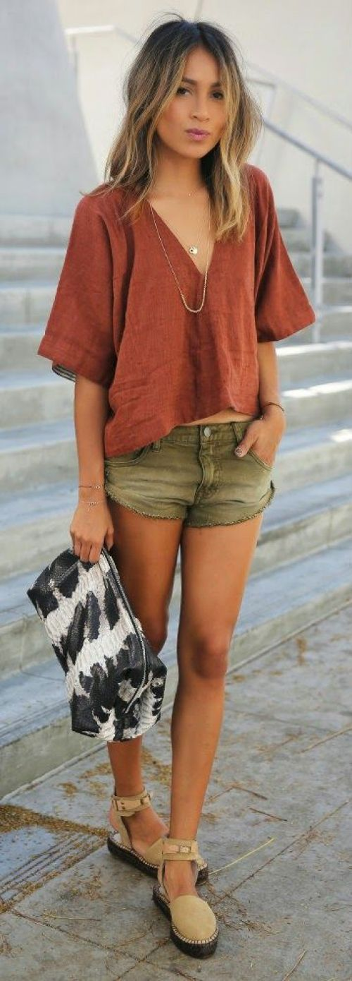Free People - v-neck top, denim shorts, ankle strap espadrilles / Sincerely Jules: