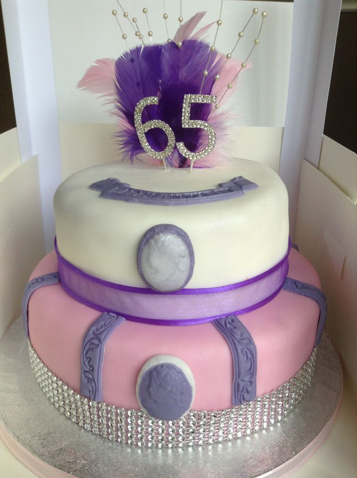 2 Tiered Pink Amp Purple 65th Birthday Cake Elegant Pointe