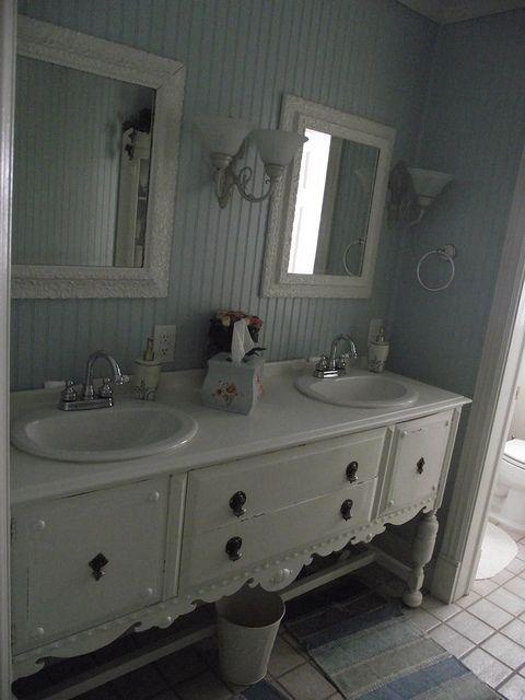 Buffet Turned Sink Beadboard Bathroom Ideas Pinterest
