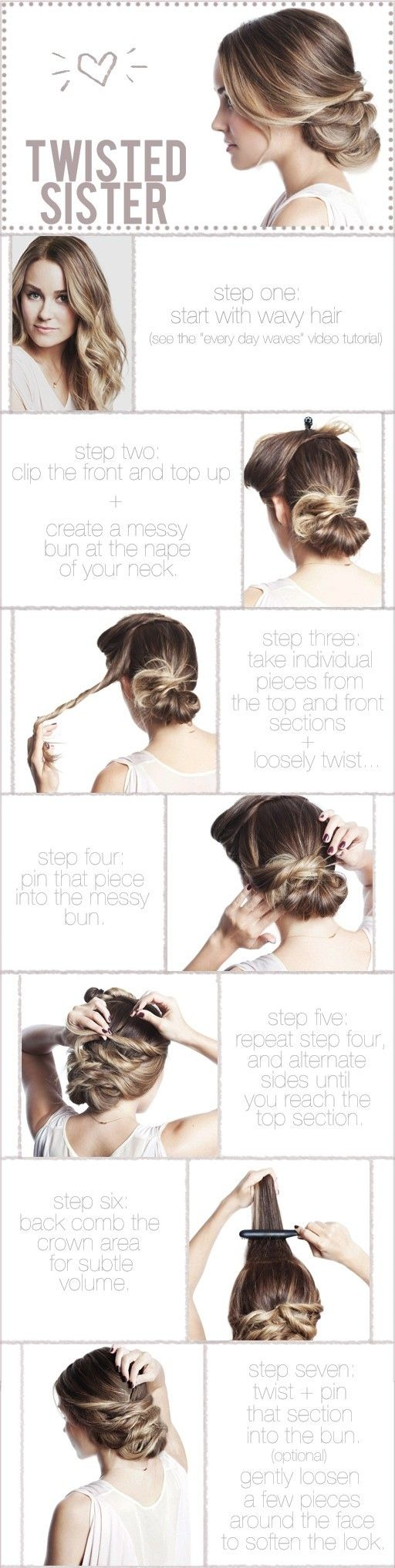 The twisted updo is super cute, this page has 25 great tutorials for cute hair styles