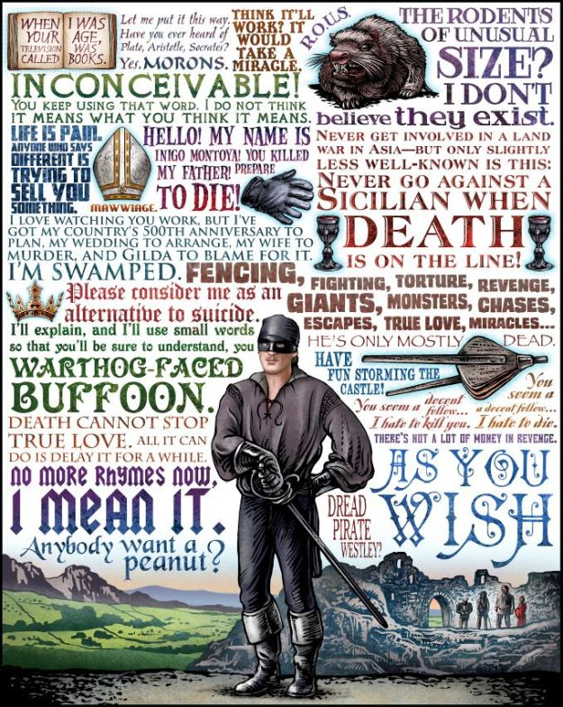 Fan art of the most memorable phrases from The Princess Bride