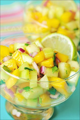 """Mango Cucumber Salsa, part of the """"Ultimate Caribbean Beach Picnic Spread"""",  in my latest ….  """"The Wanderlust Food"""