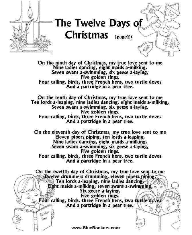 Printable Christmas Carol Lyrics sheet The Twelve Days