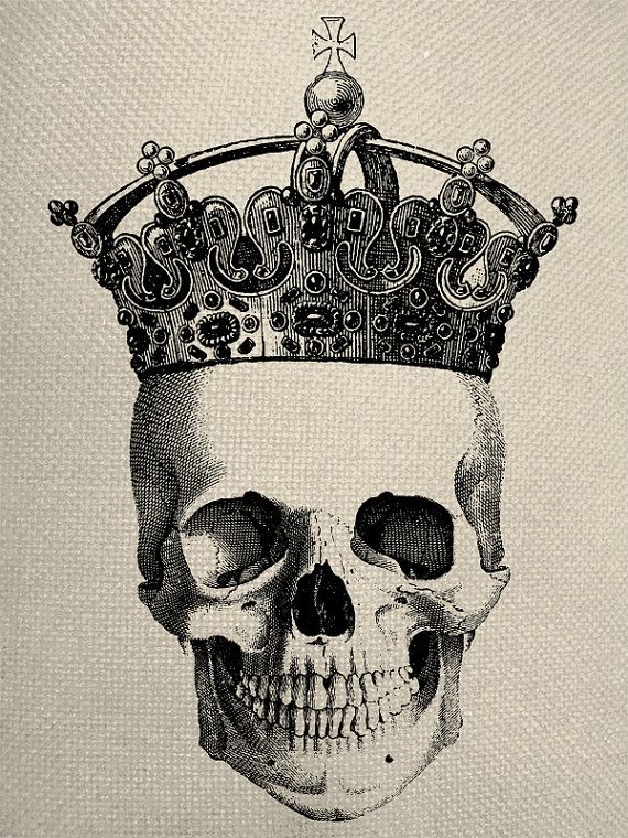 Skull With Crown Engraving Digital Collage Graphic Fabric