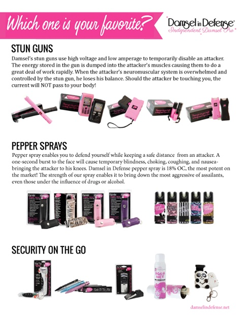 Stun guns, pepper spray. Personal protection products