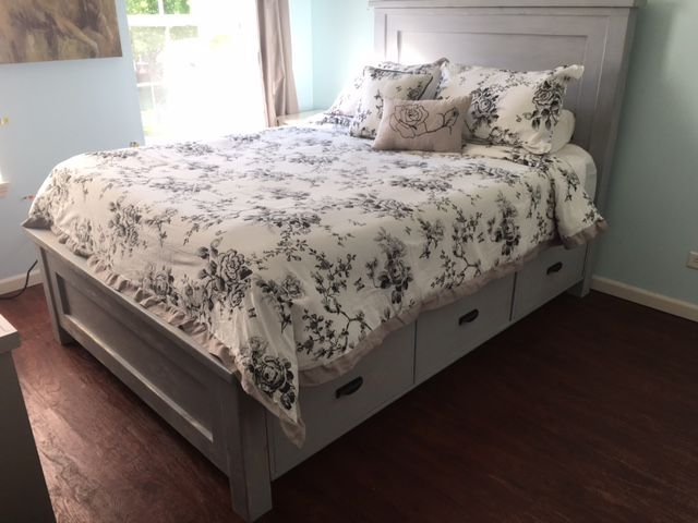 Queen Size Farmhouse Bed With Storage Do It Yourself