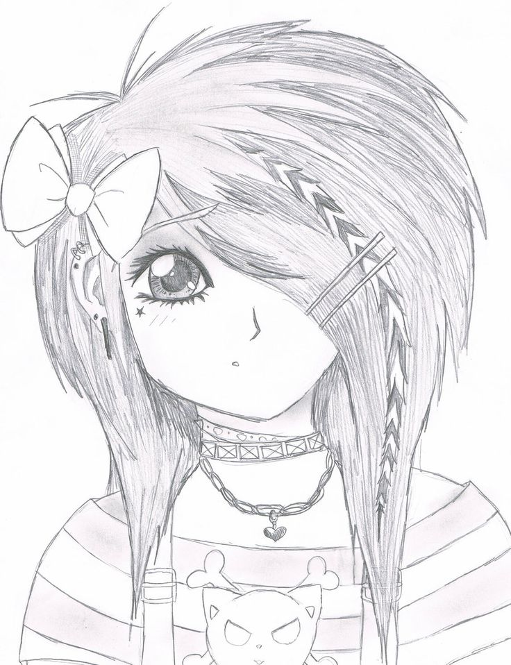 easy anime drawings Emo Scene gurl by Kattify7764 on
