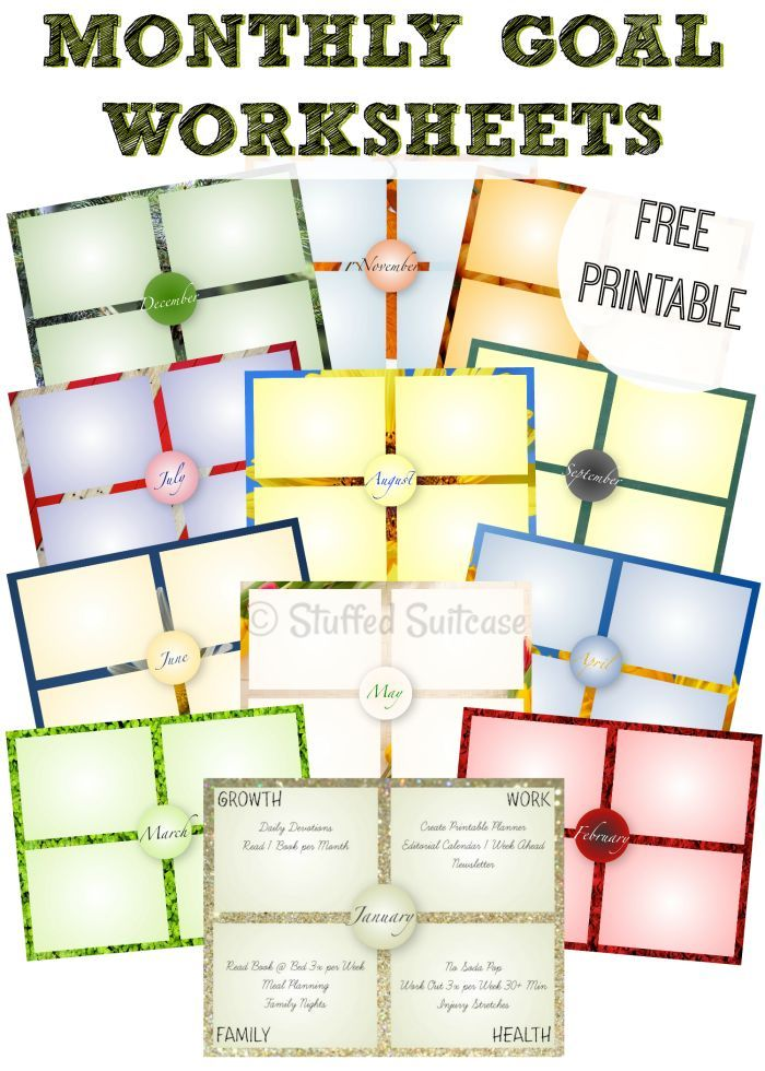 One Year of Monthly Goal Setting Worksheet Printables