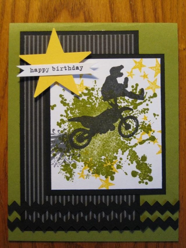 Birthday handmade card dirt bike motercycle boy teen son