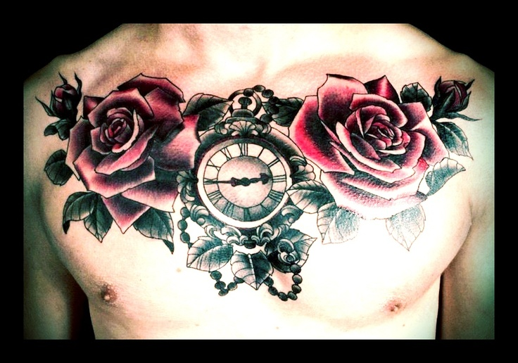 Roses, rose buds and ornate pocket watch chest piece