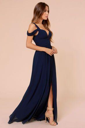 Elegant Navy Blue Dress – M