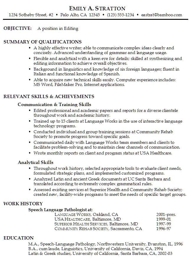 Sample Functional Resume for Editing Teacher Stuff
