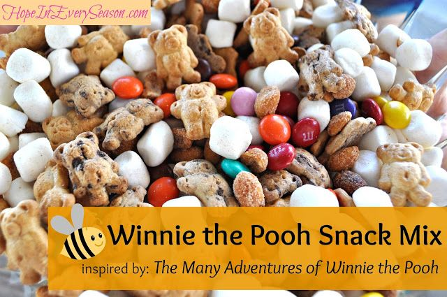 Winnie the Pooh Snack Mix.. Add dried fruit instead of nuts. Let C mix and put in baggies to send to school?