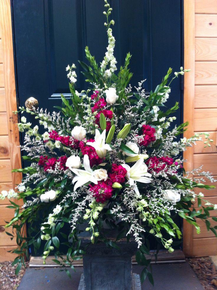 Purple white and green vase arrangement FLOWER