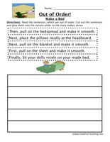 Making a Bed Sequence Worksheet:Read the sentences, which are out of order. Cut out the sentences and glue them into the correct